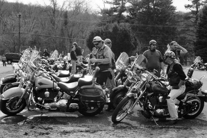 Bikers gather in the Village of Valley Forge